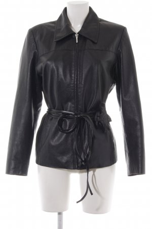 Best Connections Lederjacke schwarz Rockabilly-Look