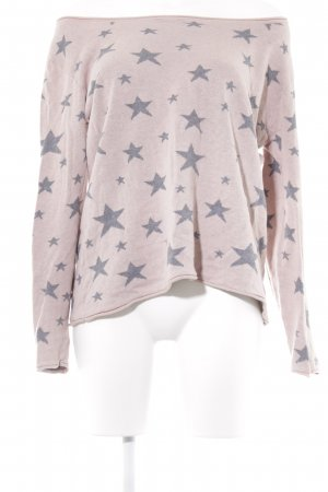 Best Connections Crewneck Sweater dusky pink-grey star pattern simple style