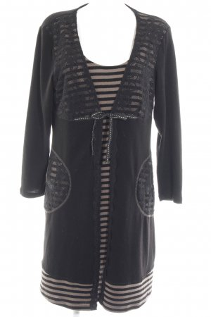 Best Connections Knitted Dress black-camel striped pattern layered look