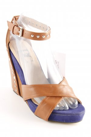 Best Connections Wedge Sandals brown-blue casual look