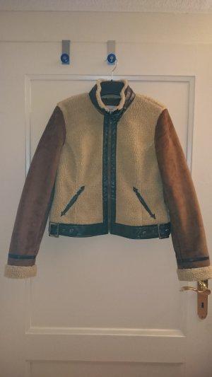 Best Mountain Jacke, Größe M / L, Felljacke, braun mit Teddyfell
