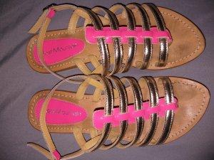 Best mountain Romeinse sandalen goud-neonroos