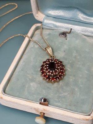 VINTAGE JUGENDSTIL 925 Silber Collier mit böhmische Granate