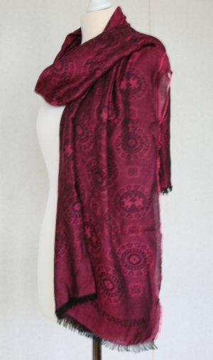 La Martina Pashmina black-dark red cotton