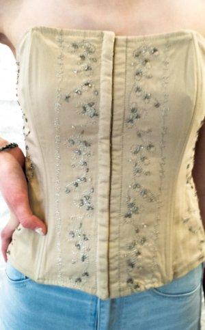 Haut type corsage doré-blanc coton