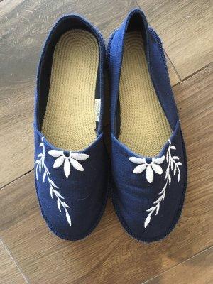 Espadrille Sandals dark blue-white