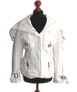 Bestickte Jacke in Weiß von DreamGirl mit großem Kapuzenkragen, Gr. M/L