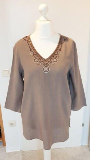 Via Appia Tunic Blouse brown linen
