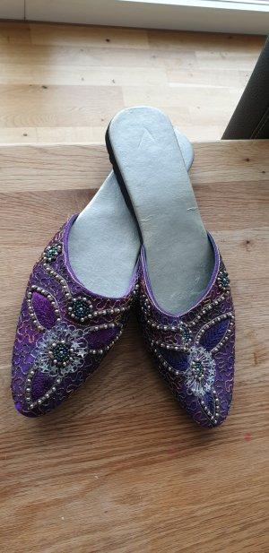 Pantoufles argenté-violet