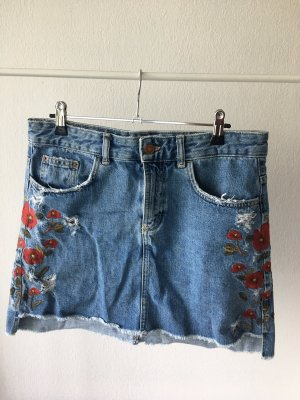 Zara Denim Skirt steel blue-dark red