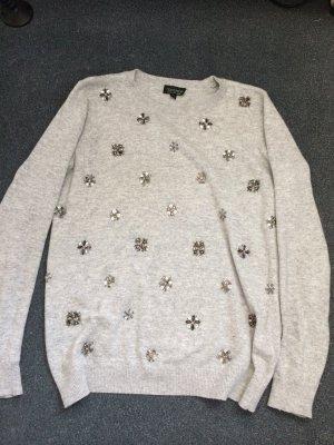 Bestickter Pullover von Topshop in Grau Sweater mit Pailletten Statement-Sweater