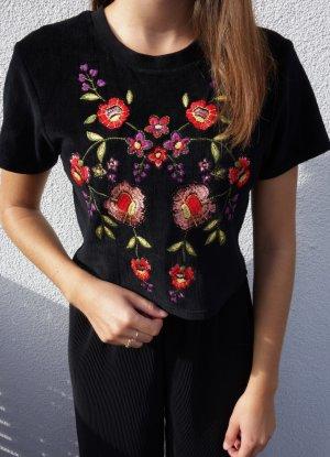 Besticktes Crop T-Shirt aus Verlours von Pins & Needles