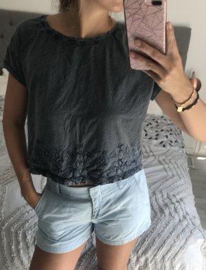 edc Cropped shirt donkerblauw-petrol