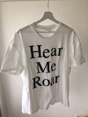 H&M Print Shirt white-black
