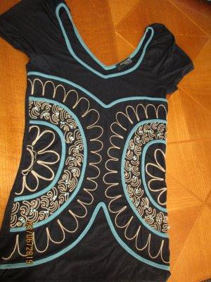 T-shirt col en V noir-bleu pétrole coton