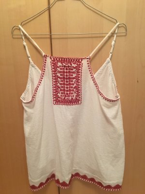 Mango Knitted Top white-dark red