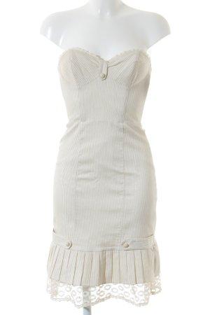 Betsey Johnson Bustierkleid creme-beige Streifenmuster Spitzenbesatz