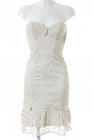 Betsey Johnson Bustier Dress cream-beige striped pattern Lace trimming