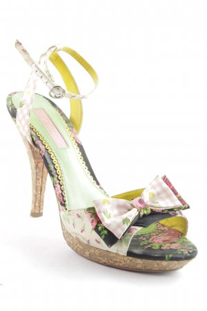 Betsey Johnson Strapped High-Heeled Sandals floral pattern beach look