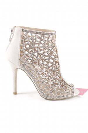 Betsy Johnson. Cut Out Booties natural white-silver-colored elegant