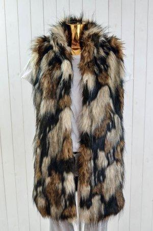 BETTA CORRADI Damen Fake Fur Weste Mod. SMANICATO LUNGO Schwarz Braun Sand Gr. L