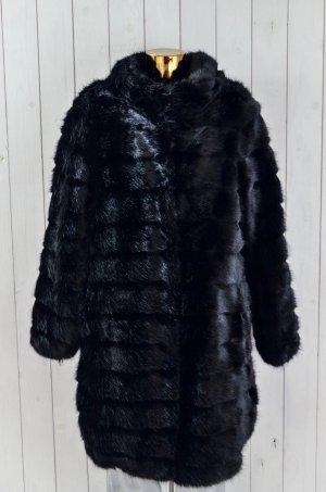 BETTA CORRADI Damen Jacke Mantel Fake Fur Schwarz Mod. CAPOTTO COLLO Gr.L