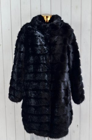 BETTA CORRADI Damen Jacke Mantel Fake Fur Schwarz Mod. CAPOTTO COLLO Gr.M