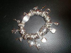 bettelarmband,armband,12 anhänger,neu,silber,modeschmuck