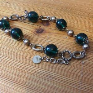 Bettelarmband, Armband, Kupferfarben mit grünen Kugeln