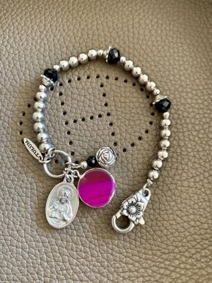 Charm Bracelet silver-colored-magenta