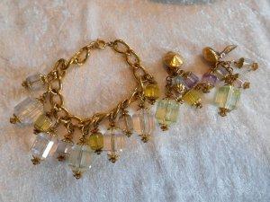 Bettelarmband & Ohrclips Set gold- und pastellfarben