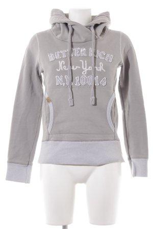 Better Rich Sweatshirt met capuchon lichtgrijs geborduurde letters
