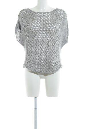 Better Rich Sweater met korte mouwen lichtgrijs losjes gebreid patroon