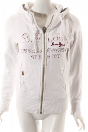 Better Rich Sweatjacke weiß-pink Schriftzug gestickt sportlicher Stil