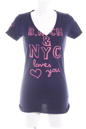 Better Rich T-Shirt dunkelblau-pink Schriftzug gedruckt sportlicher Stil