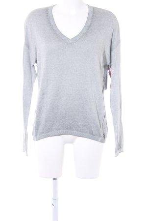 Better Rich V-Ausschnitt-Pullover grau-hellgrau meliert Casual-Look