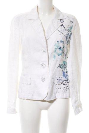 Betty Barclay Chaqueta tipo blusa blanco-azul estampado con diseño abstracto