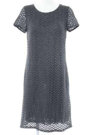Betty Barclay Kurzarmkleid grau-dunkelgrau Lochstrickmuster Business-Look