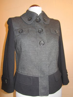 BETTY BARCLAY: Kurzjacke Mix Jersey-Stoff, grau-schwarz, Gr. 38