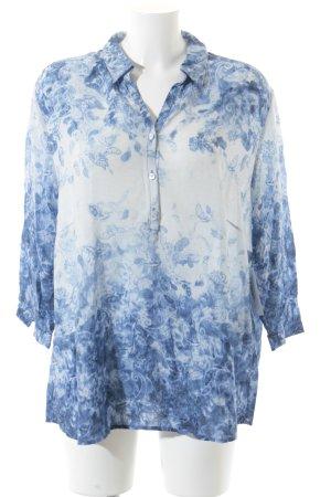 Betty Barclay Langarm-Bluse blau-wollweiß Motivdruck extravaganter Stil