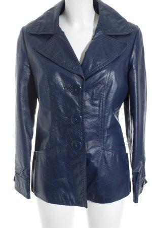 Betty Barclay Lederjacke dunkelblau Vintage-Look