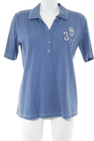 Betty Barclay Polo-Shirt blau Schriftzug gedruckt Casual-Look