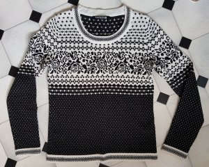 Betty Barclay Pullover Norweger Look schwarz-wollweiß S