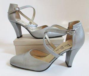 Betty Barclay Pumps Sandaletten Größe 6,5 40 Graun Hellgrau silberfarben Leder Mary Jane Tanzschuhe Schuhe