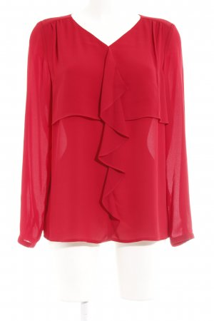 Betty Barclay Blouse à volants rouge brique style romantique
