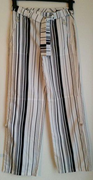 Betty Barclay Pantalón de lino blanco-negro tejido mezclado