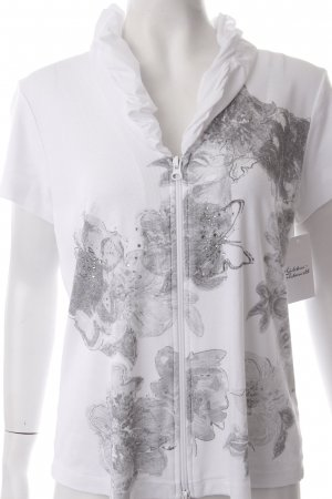 Betty Barclay Shirtjacke weiß-hellgrau florales Muster Schmucksteinverzierung