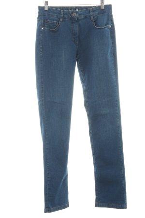 Betty Barclay Slim Jeans blau Logo-Applikation aus Leder