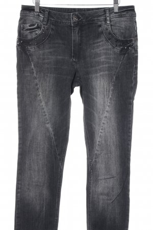 Betty Barclay Slim Jeans dunkelgrau Biker-Look