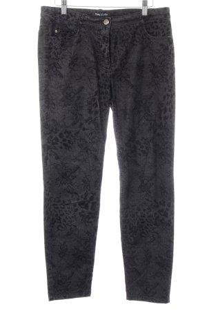Betty Barclay Slim Jeans schwarz-dunkelgrau florales Muster extravaganter Stil
